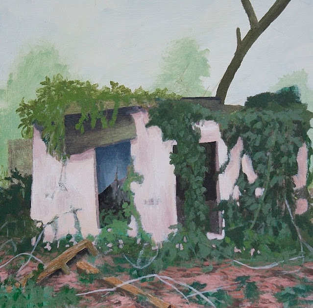 Pink Motel, Oil and Acrylic on Wood Panel, 12 in x 12 in, 2010