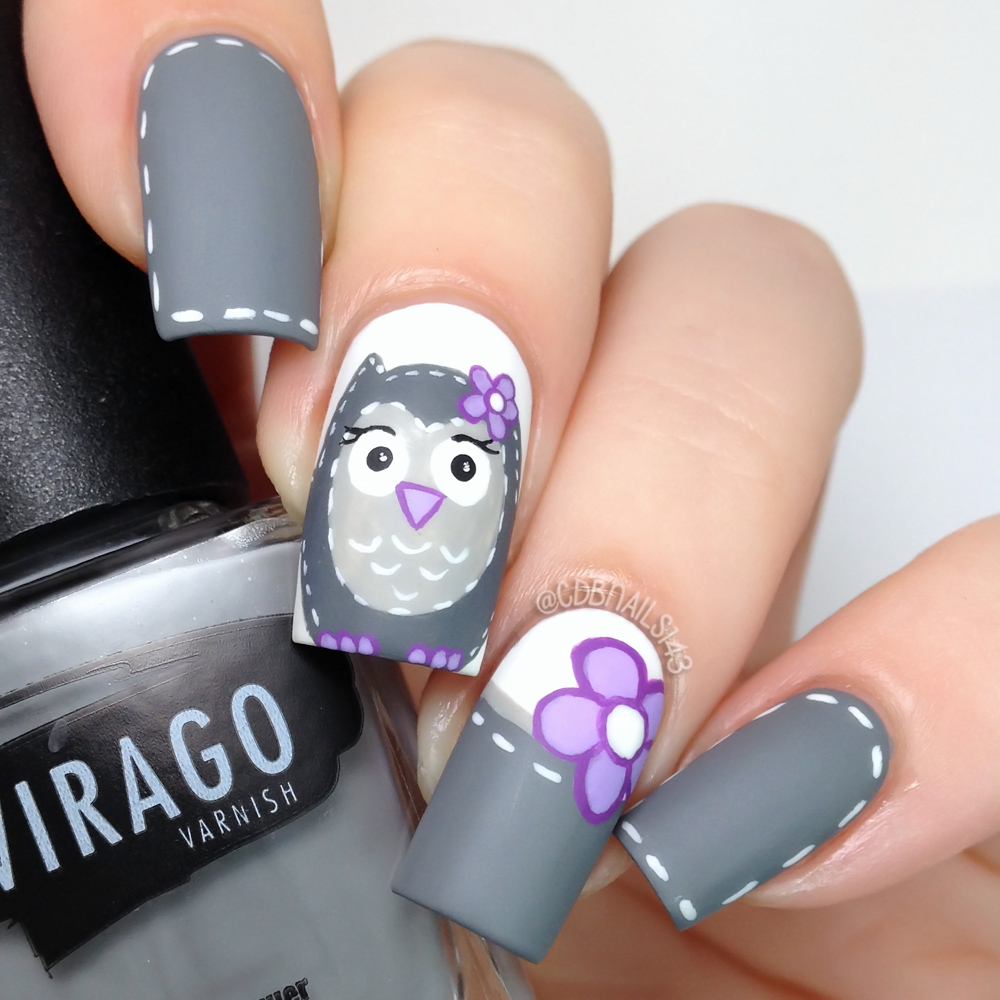 Cdbnails challenge your nail art day 03 owls i painted my middle and ring nails white and then added a gray tip to my ring freehand painted the owl the flower and all the white stitch lines prinsesfo Images