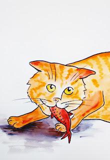 Chat, aquarelle, livre