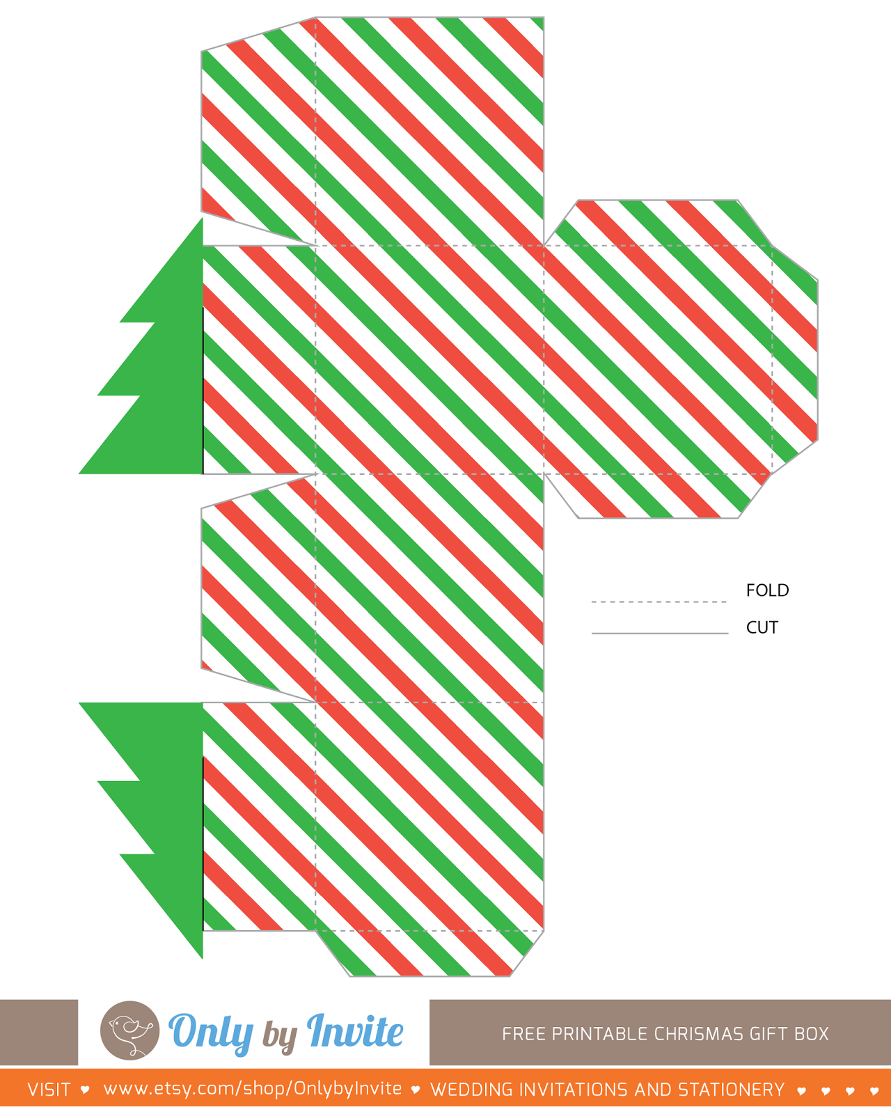 Christmas Gift Box Template.Free Printables For Happy Occasions Christmas Gift Box