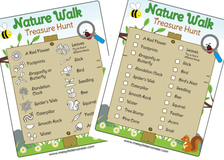 nature walk scavenger hunt for kids