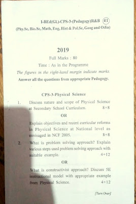 B.ed 1st Year Course Questions Paper