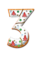 Number three graphic, decorated with icing, trees and dots