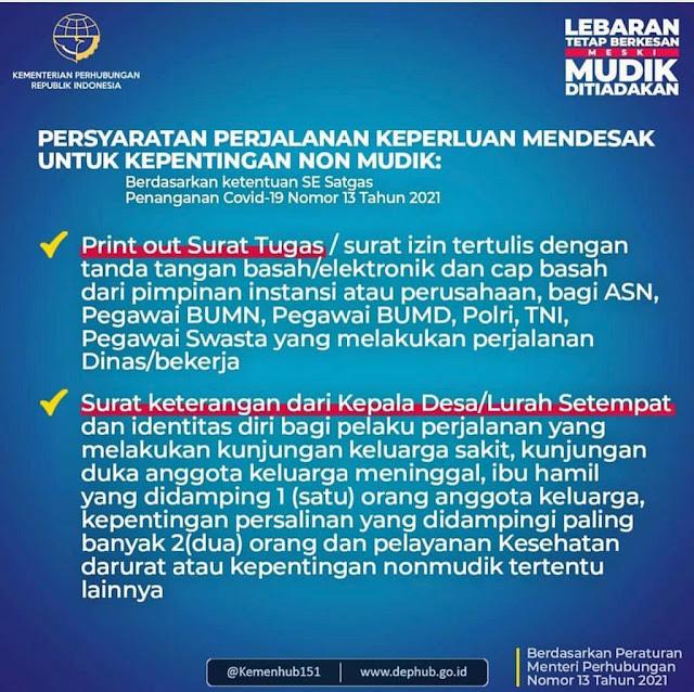 """Herman Deru : Petugas Pos Jaga Harus Jeli Bedakan Mudik dan Non Mudik   * Non Mudik Diperbolehkan Melitas Dengan Persyaratan   PALEMBANG, Liputansumsel.com, - Permerintah pusat telah mengeluarkan aturan terkait larangan aktivitas mudik lebaran tahun 2021. Hal itu, guna menghindari meningkatnya penyebaran covid-19.   Pihak Kepolisian pun turut mengawal kebijakan tersebut dengan menyiagakan sejumlah personel di 381 titik penyekatan mudik yang tersebar di seluruh Indonesia. Di Sumatera Selatan (Sumsel) sendiri sedikitnya ada 10 titik penyekatan mudik yang disiagakan khususnya di perbatasan.   Disisi lain, selain mengatur soal larangan mudik, pemerintah juga mengatur perjalanan masyarakat yang dkecualikan dari larangan perjalanan. Ketentuan tersebut tertuang dalam Surat Edaran Satgas No 13 tahun 2021 dan Peraturan Menteri Perhubungan No 13 tahun 2021.   """"Ada dua kategori, mudik dan nonmudik. Yang nonmudik adalah perjalanan untuk keperluan khusus misalnya karena tugas, untuk berobat, atau ada keluarga yang terkena musibah, ya boleh melintas asal sesuai dengan persyaratan,"""" kata Gubernur Sumsel H Herman Deru, ketika meninjau sejumlah pos pemantau dan penyekatan di Sumsel, Sabtu (8/5)   Dimana pelaku perjalanan yang masuk dalam kategori pengecualian atau nonmudik adalah kendaraan pelayanan distribusi logistik dan pelaku perjalanan dengan keperluan mendesak untuk kepentingan non mudik diantaranya bekerja atau perjalanan dinas, kunjungan keluarga sakit, kunjungan duka anggota keluarga meninggal, ibu hamil yang didampingi oleh 1 orang anggota keluarga, serta kepentingan persalinan yang didampingi maksimal 2 orang.   Kendati demikian, tetap ada syarat tertentu yang harus dipenuhi oleh pelaku perjalalanan tersebut yakni memiliki Surat Izin Keluar Masuk (SIKM).   """"SIKM tersebut juga tidak diberikan kepada sembarang orang. Pelaku perjalanan selama larangan mudik yang bisa mendapatkan SIKM harus sesuai ketentuan,"""" imbuhnya.   Bagi pegawai instansi pemerintah/Aparatur Sipil Negara """