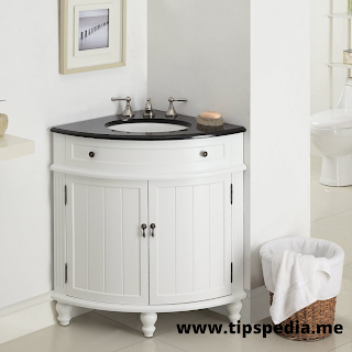 corner bathroom sink and vanity cabinet