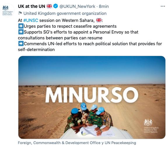 La cuenta oficial de la delegación británica en Naciones Unidas borra un tuit donde se mostraba a favor del referéndum de autodeterminación.
