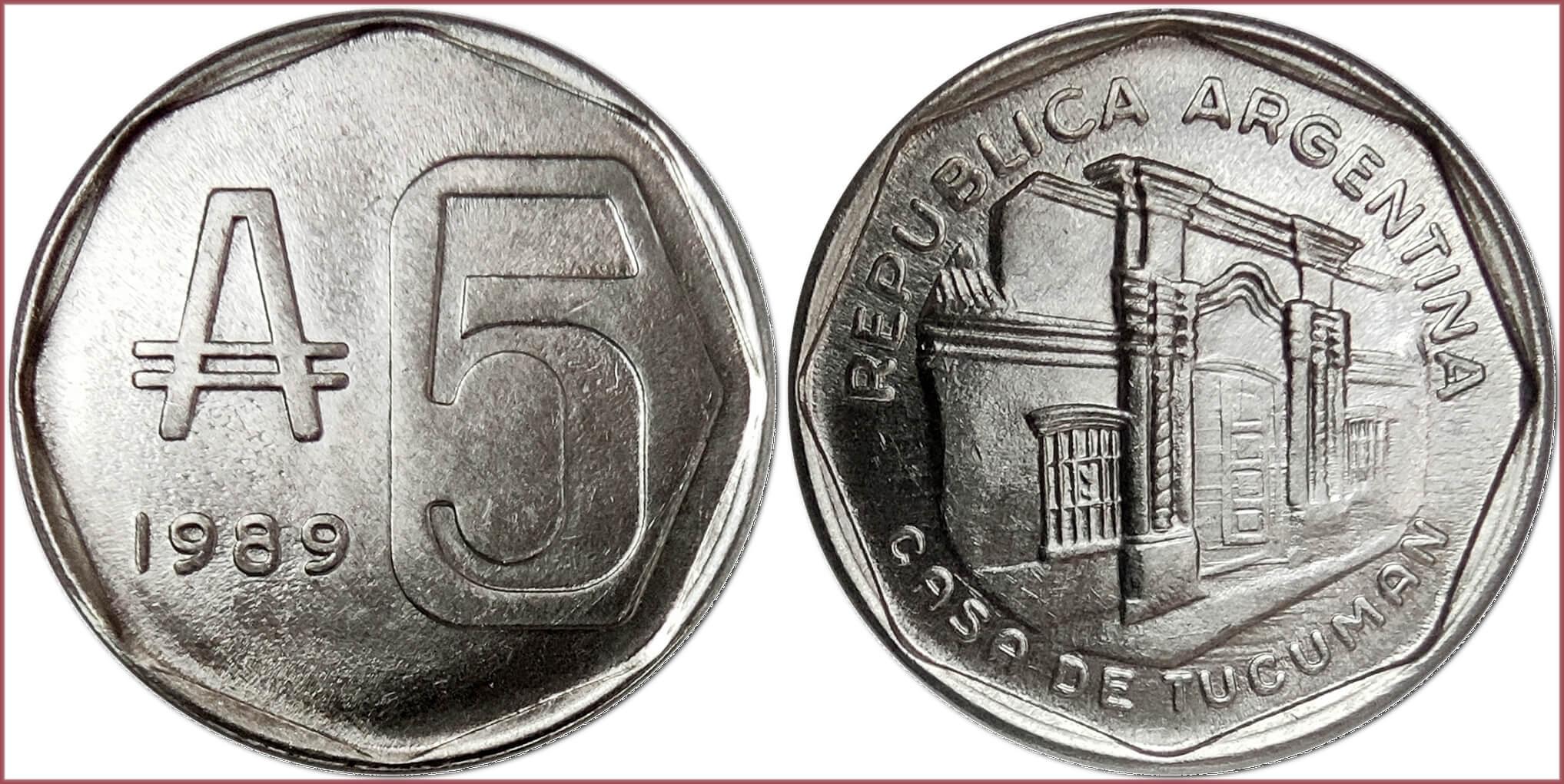 5 australes, 1989: Argentine Republic