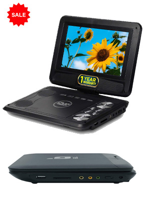 Portable 9 inch DVD player with USB and SD card support