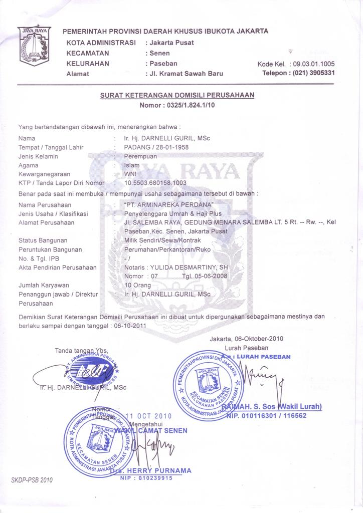 Contoh Surat Keterangan Domisili Haji Surat P