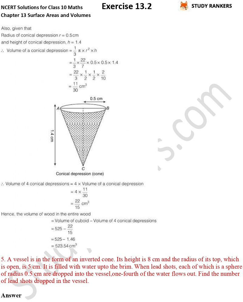 NCERT Solutions for Class 10 Maths Chapter 13 Surface Areas and Volumes Exercise 13.2 Part 5