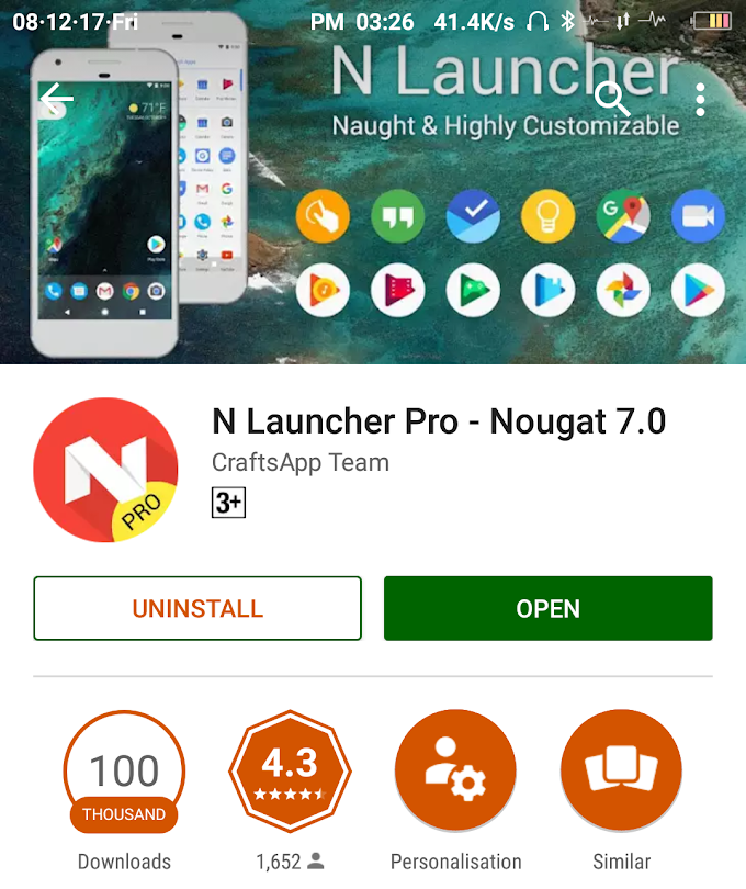 N Launcher Pro-Nougat 7.0 [Now Paid Version Free In Playstore]
