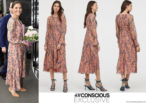 Crown Princess Victoria wore H&M print Silk Dress Conscious Exclusive