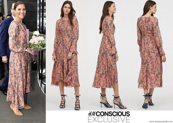 Crown Princess Victoria wore H&M print Silk Dress Conscious Exclusive