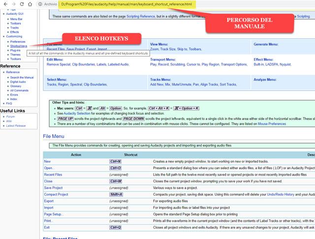 elenco hotckeys manuale audacity
