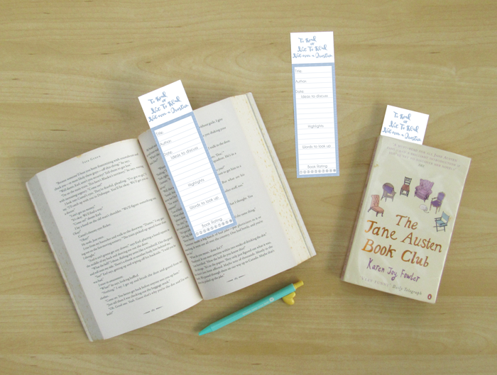 reading, bookmark, discussion questions, free printable, freebie, the jane austen book blub, karen joy fowler