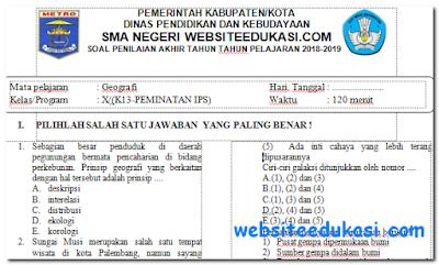 Soal PAT/UKK Geografi Kelas 10 K13 tahun 2018/2019