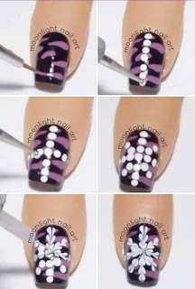 Drag Marble Snowflake Nail Art Tutorial. Toothpick Nail Art. Needle Nail Art