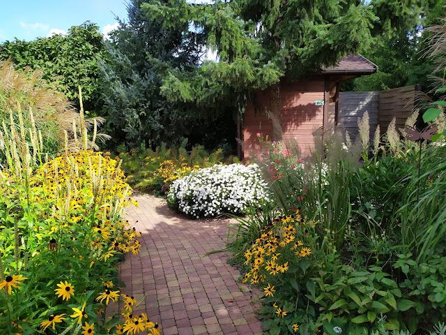rabata bylinowa, trawy w ogrodzie, ścieżka z kostki
