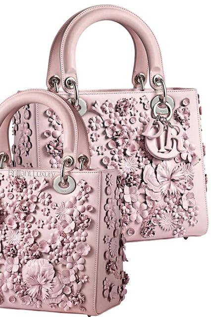 Pink Lady Dior flower embroidered rose dragée smooth calfskin bag #brilliantluxury