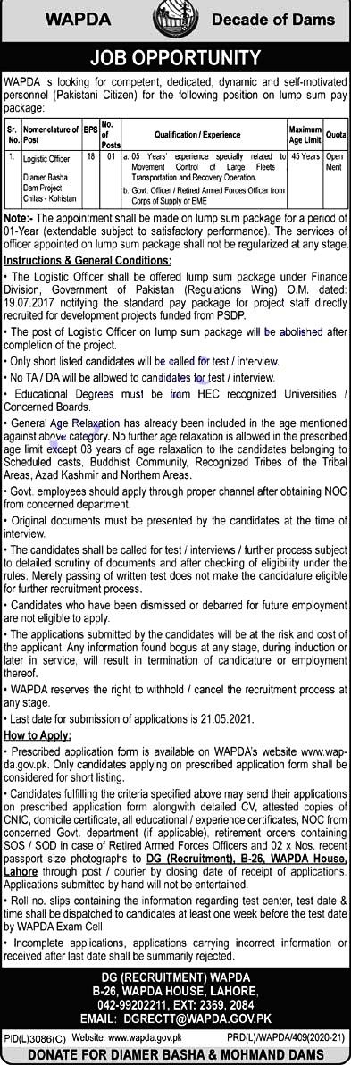 New Jobs in Water and Power Development Authority WAPDA Lahore 2021