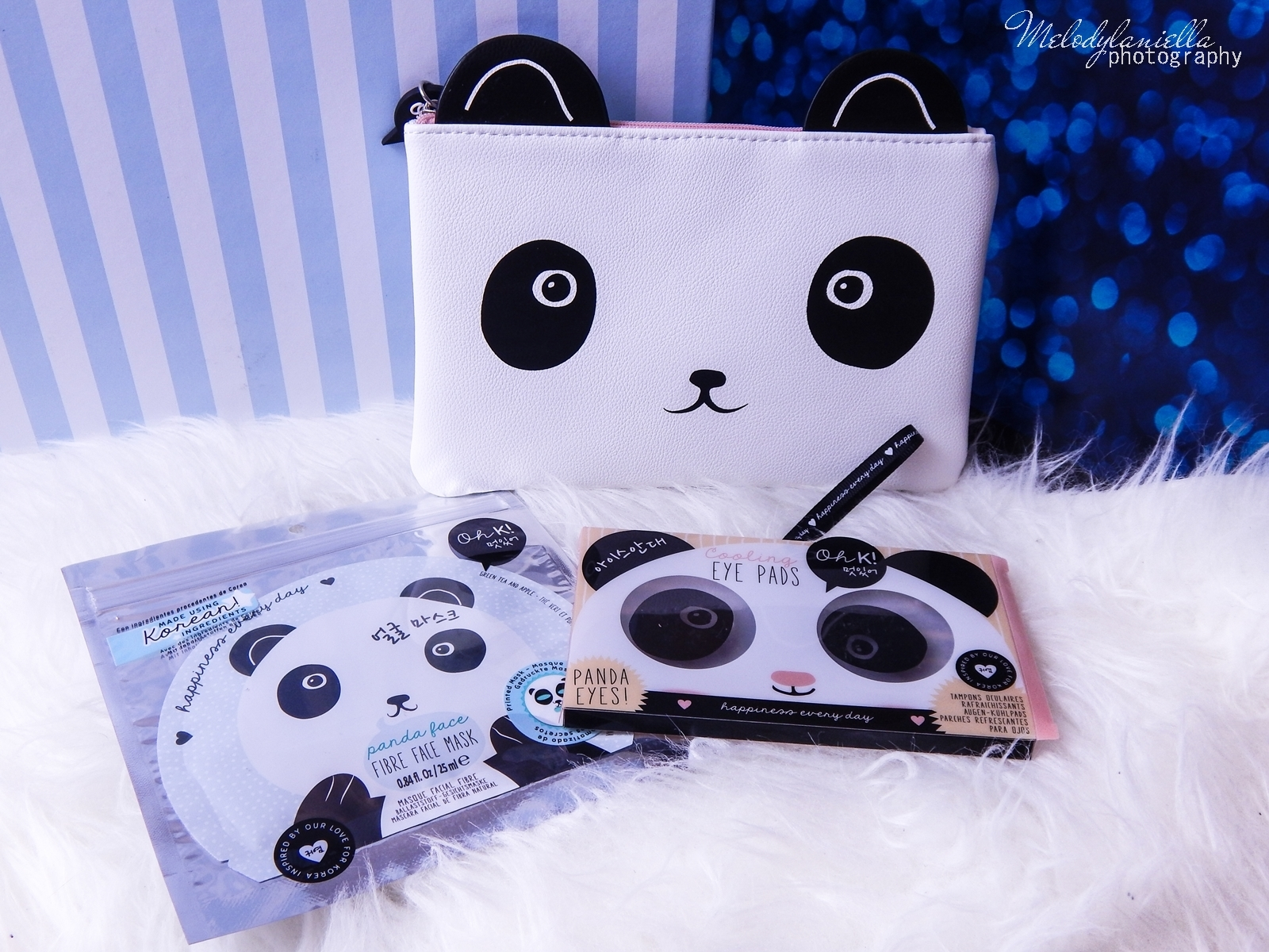 6 Oh! K Life koreańskie kosmetyki i gadżety słodkie dziewczęce dodatki maska do twarzy panda kosmetyczka w kształcie pandy lodowe płatki chłodzące okłady na oczy przeciw sińcom jak pozbyć się sińców pod oczami