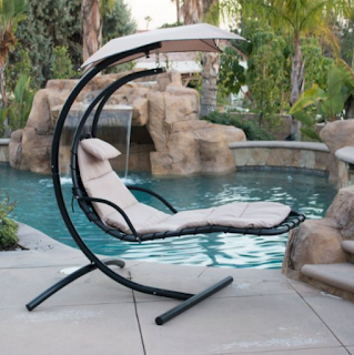 BELLEZZA Arc Stand Style Hanging Chaise Lounger Chair- Beige