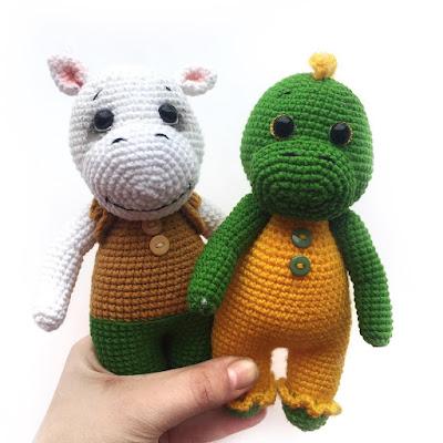 Вязаные игрушки динозавр и бегемот крючком