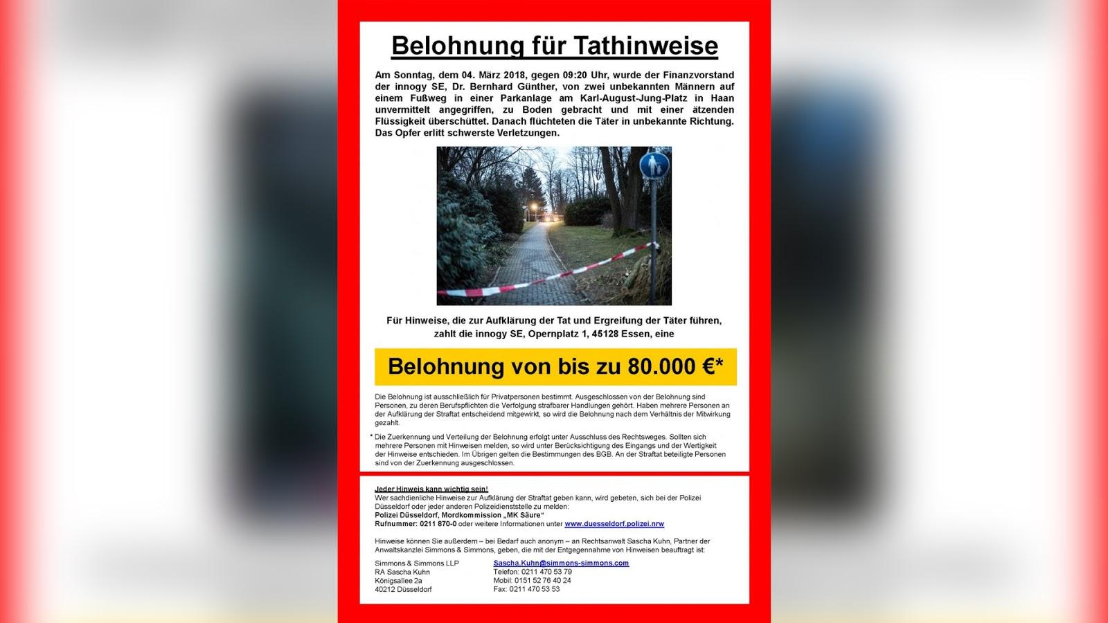 Säureanschlag auf Innogy-Manager Bernhard Günther: Unternehmen setzt 80.000 Euro Belohnung aus