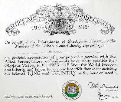 WW2 Certificate of Appreciation - A.S.Davis