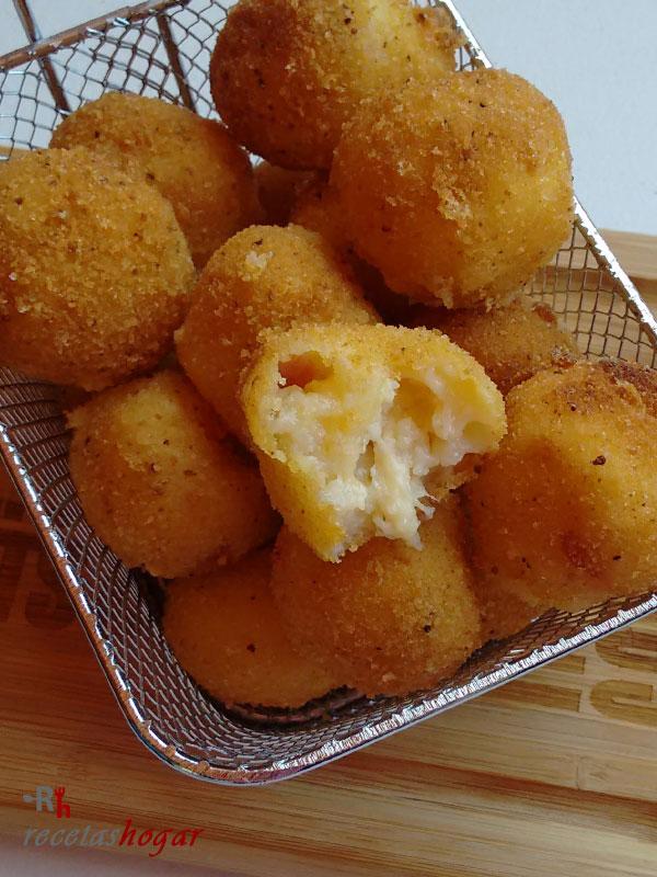 Deliciosas bolitas de papas con baicon y queso
