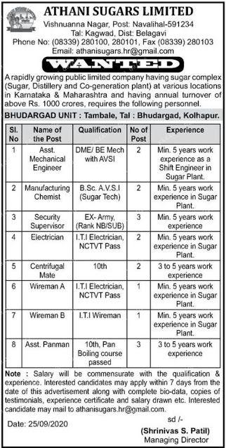 Athani Sugars Limited Jobs vacancy For 10th, ITI, Diploma, B.tech  Candidates