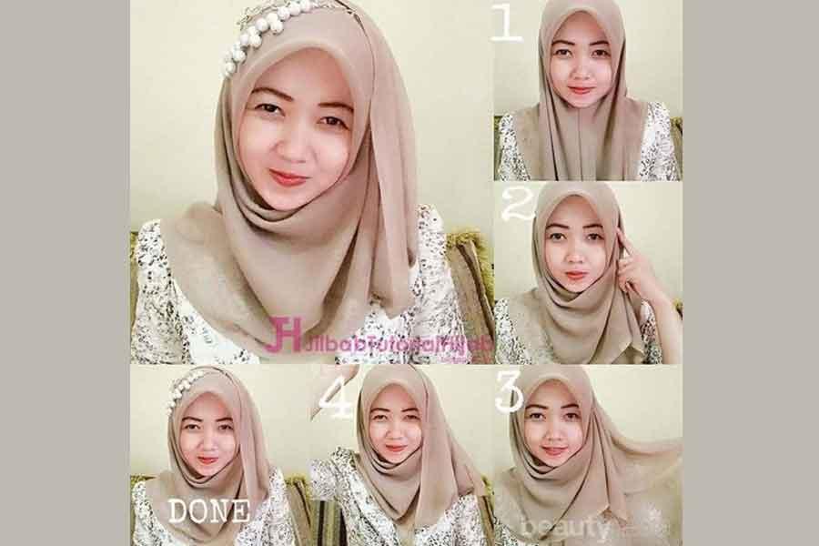 Tutorial Cara Memakai Hijab Segi Empat Dengan Kebaya