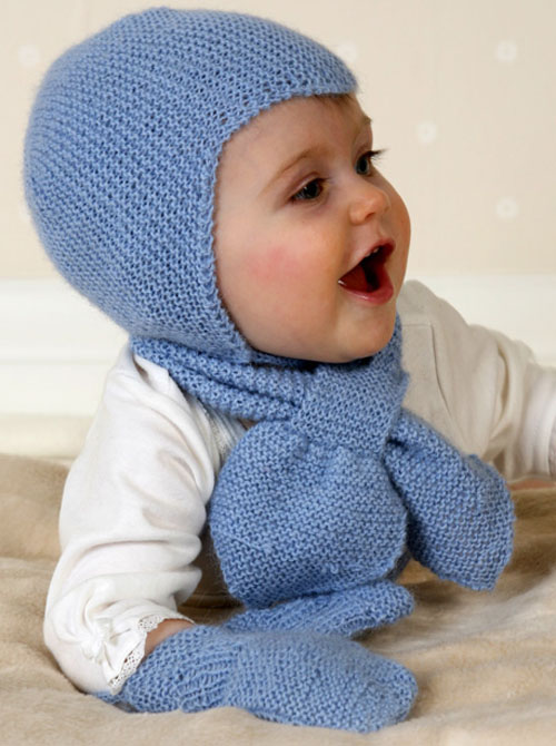 Baby Aviator Hat, Scarf & Mittens - Free Pattern