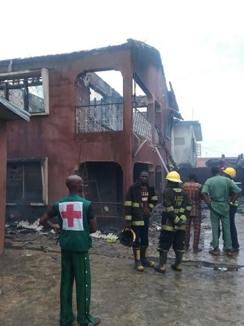 Fire outbreak in  Lawanson Surulere, Lagos
