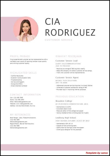 Contoh CV Untuk Customer Service