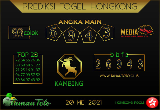 Prediksi Togel HONGKONG TAMAN TOTO 20 MEI 2021