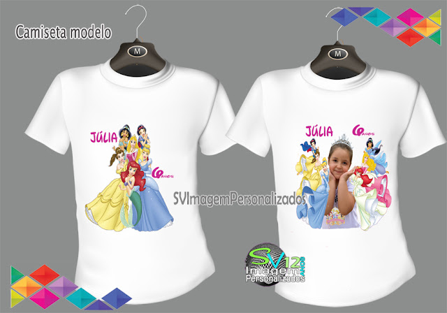 Camiseta Personalizada Princesas Disney  dicas e ideias para festa  personalizadas