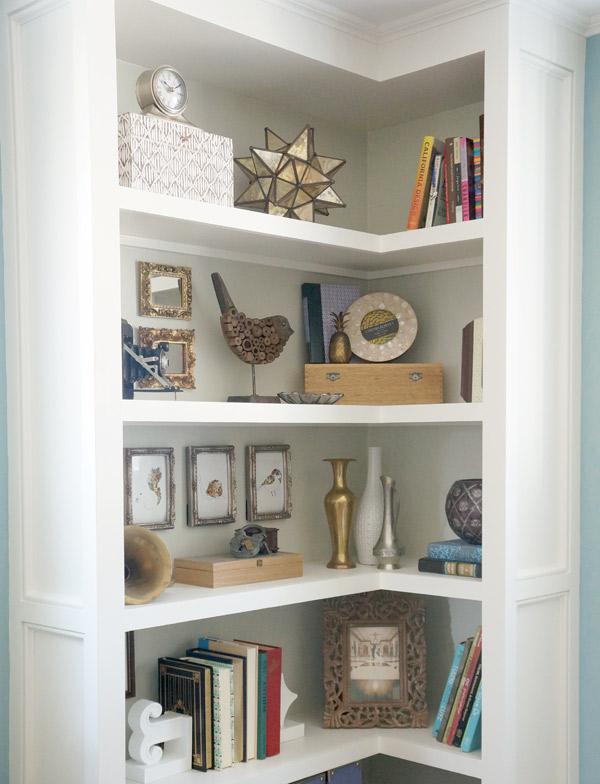 artwork in bookcases