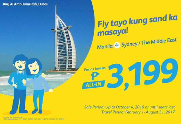 Cebu Pacific Manila to Dubai Promo 2016-2017
