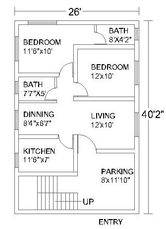 2 Bedroom House Plans #2