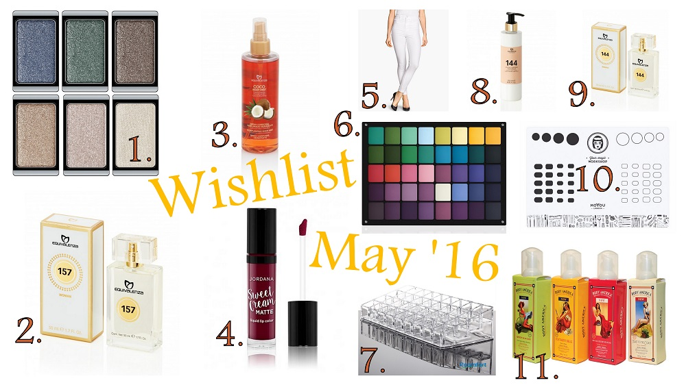 My May Wishlist 2016 : Equivalenza, Equivalenza Body Mist, Equivalenza Review, Equivalenza Eau de parfum, Jordana Sweet Cream Matte Lip Color in Sweet Marsala Wine, Acrylic Lipstick Organizer, Equivalenza perfume 144, Hollister Body Mist, ArtDeco customizable eyeshadow palette, Inglot customizable eyeshadow palette, brume corporelle parfumée Equivalenza, Body America Organics Body Butter, Body Mist