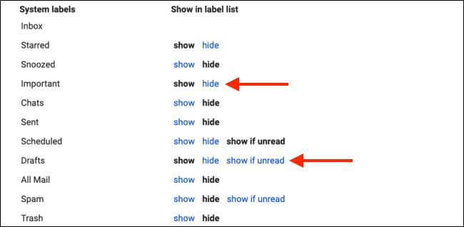 إخفاء تسميات النظام لتنظيف الشريط الجانبي لـ Gmail