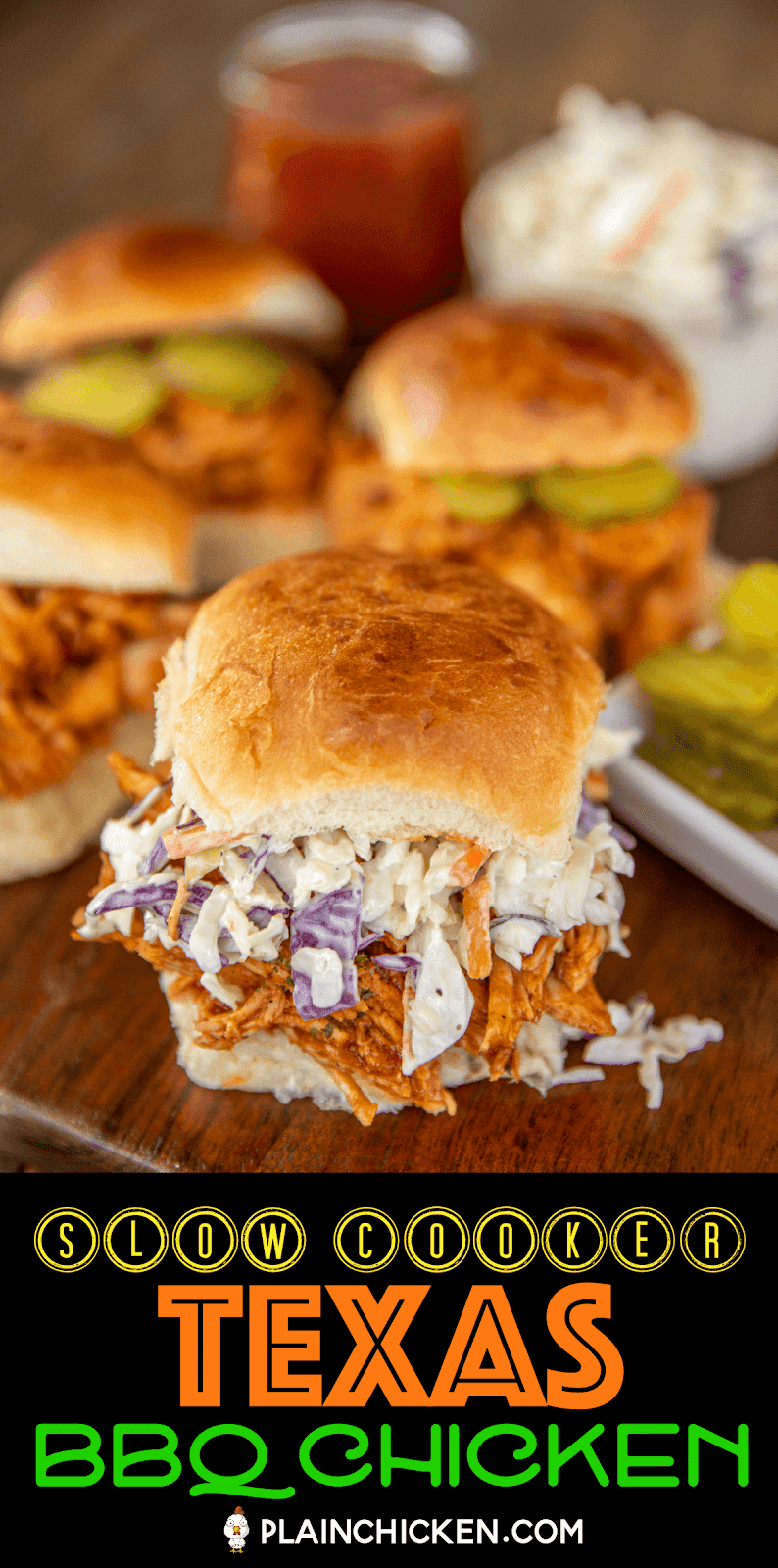 pulled bbq chicken sandwiches on a serving board