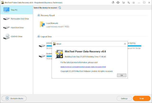 Screenshot MiniTool Power Data Recovery 8.6 Full Version