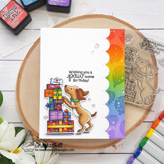 Dog Birthday Card by Andrea Shell | Paw-some Birthday Stamp Set and Balloons Stencil by Newton's Nook Designs #newtonsnook #handmade