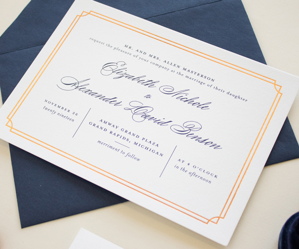 copper foil border invitation design
