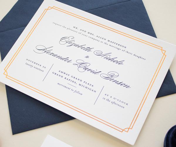 copper foil border invitation design