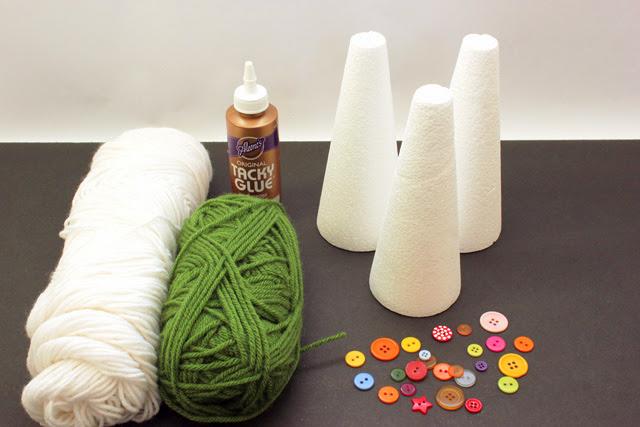 Yarn+Christmas+Tree+Materials Kids Craft: Yarn Wrapped Christmas Trees 15