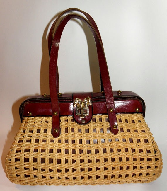 Equestrian Vintage Straw and Leather Basket Weave Purse