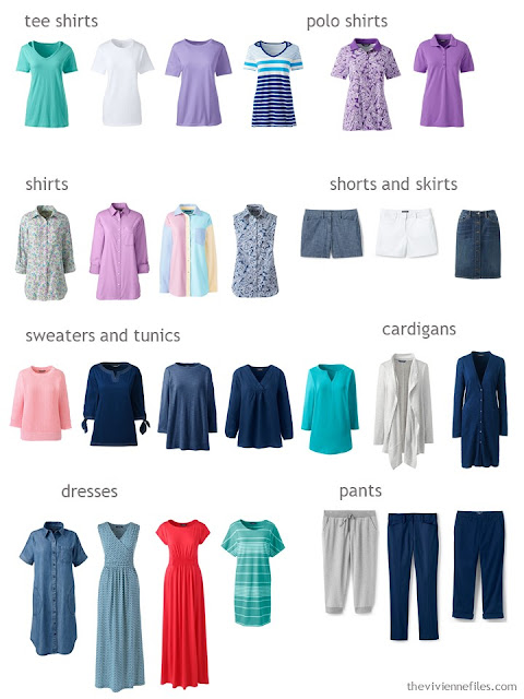 spring and summer capsule wardrobe sorted by type of garment